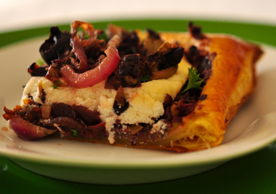 Olive Tapenade Tart with Carmelized Onions