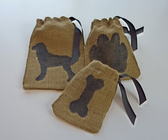 Doggy Burlap Treat Bags