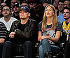 Slide Photo of Leonardo DiCaprio and Bar Refaeli at Lakers Game