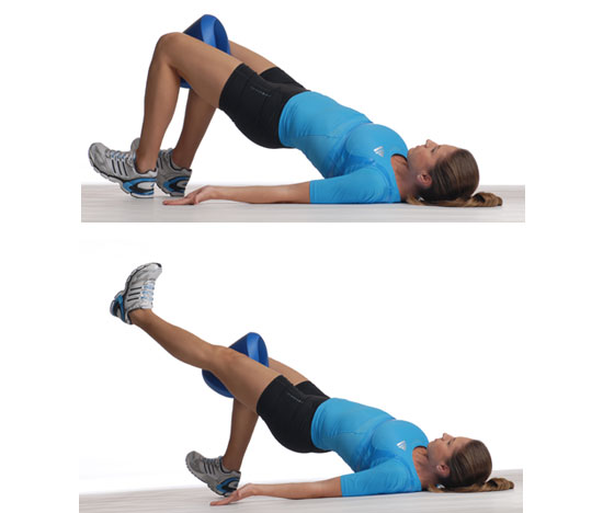 Glute Bridge With Adduction and Knee Extension