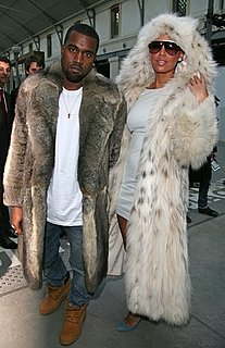 Kanye West and Amber Rose Wear Matching Furs to the Louis Vuitton 2010 Menswear Show in Paris