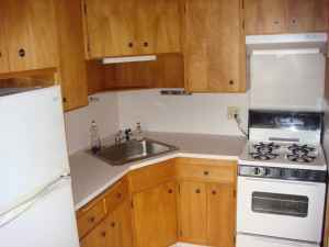With its wooden cabinets and old stove, this kitchen makes me sad.