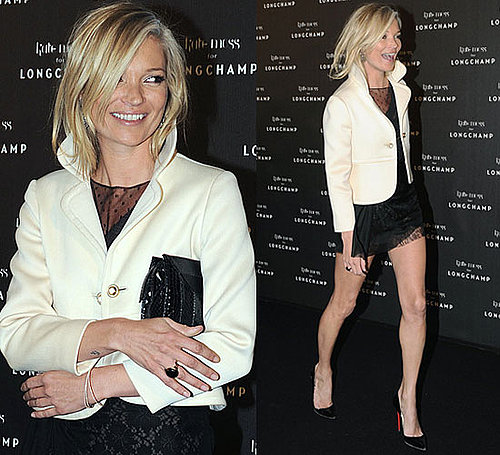 Photo of Kate Moss in Black Lace Dress and Ivory Blazer at Longchamp Party in Paris