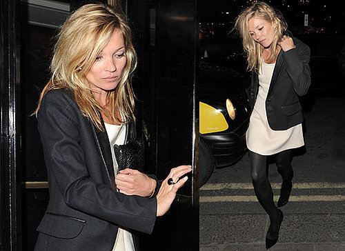 Kate Moss in London in Yves Saint Laurent blazer