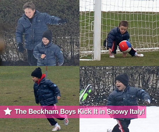 Photos of David, Cruz, Brooklyn, and Romeo Beckham Playing Soccer in the Snow in Italy