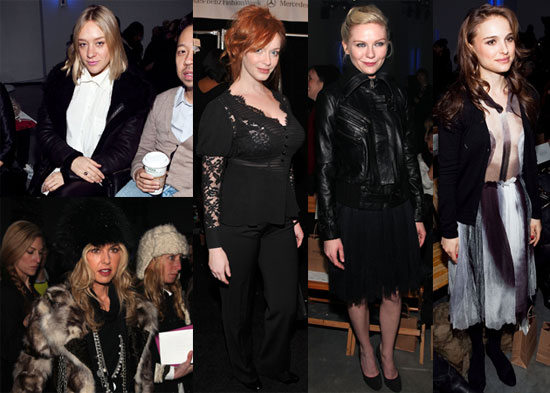 Photos of Kirsten Dunst, Jason Schwartzman, Chloe Sevigny and Natalie Portman at the 2010 Fall Rodarte Show 2010-02-17 14:00:42