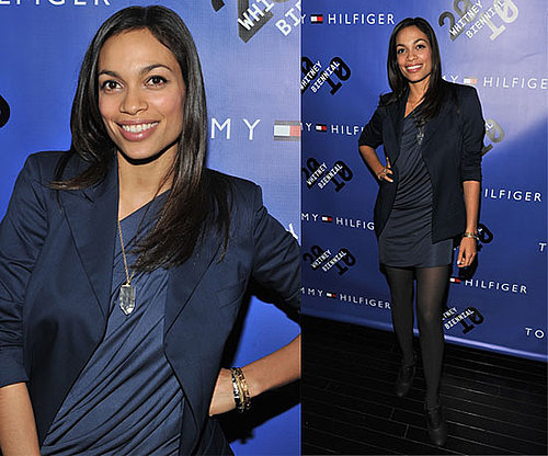 Rosario Dawson Wears Blue Draped Dress and Navy Blazer