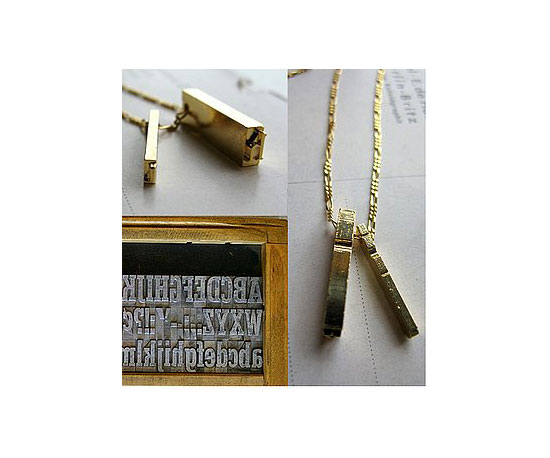 Geek Jewelry: Letterpress Necklace