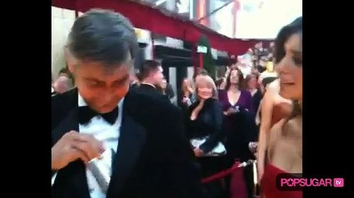 George Clooney and Elisabetta Canalis on the Oscar Red Carpet