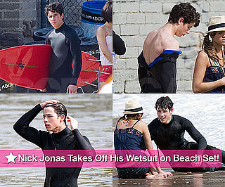 Slideshow of Photos of Nick Jonas Shirtless in Wetsuit on the Jonas Set