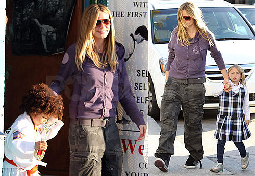 Photos of Heidi Klum and Leni and Henry Samuel Leaving Karate Class in Los Angeles