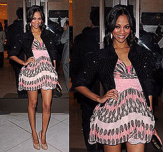 "Zoe Saldana in Pink Louis Vuitton at Louis Vuitton And Glamour Celebrate the Magazine's ""Most Glamorous"" Issue Party"