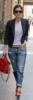 Rachel Bilson Wears Ripped Boyfriend Jeans on Hollywood Blvd
