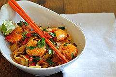Noodle Over Stir-Fried Shrimp and Cilantro