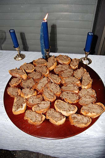 If you've been to one of my parties you'll know that I love crostini. This one was slathered in chicken liver paté.