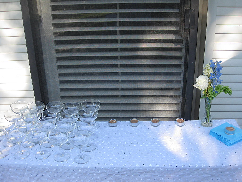 The weather was gorgeous, so everything was set up outside. I selected the coupes because guests could enjoy either sparkling wine or cocktails in them.
