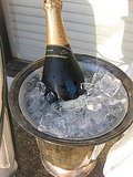 Not only does he have a breathtaking yard, but my grandfather is also the proud owner of a vintage champagne bucket. I moved it outside and placed it beside the glasses.