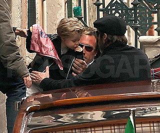 Slide Photo of Shiloh Jolie-Pitt and Brad Pitt in Venice
