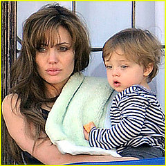 Angelina Jolie spends some quality time with Knox on the balcony of their hotel in Rome