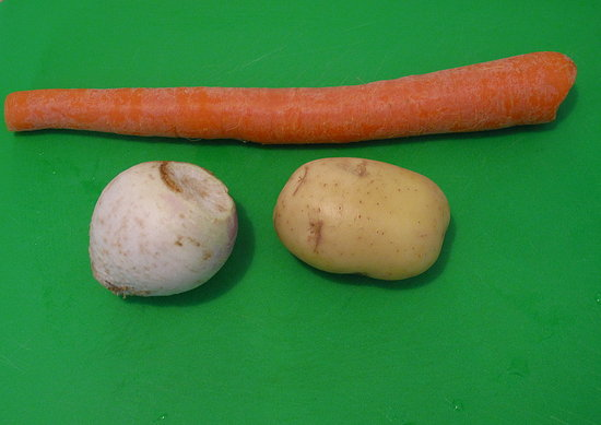 Root vegetables like potatoes, carrots, turnips, rutabagas, and parsnips are all ideal and suitable for turning.