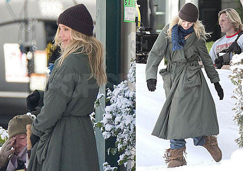 Photos of Cameron Diaz Filming Bad Teacher in Fake Snow