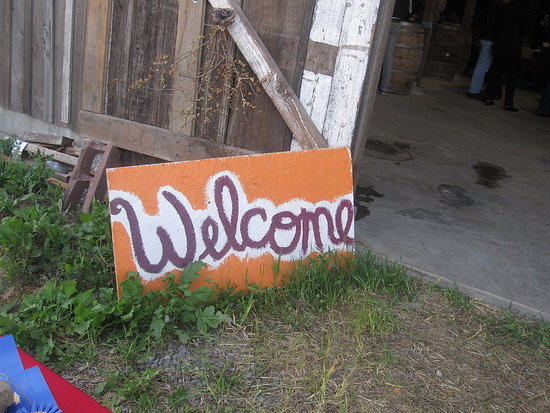 The welcome sign that greeted guests.