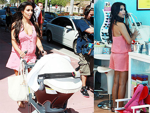 Photos of Kim Kardashain in a Short Romper Babysitting Mason Disick in Miami