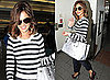 Cheryl Cole in LA in Nautical Jumper with Grey Patent Handbag and Tailored Trousers