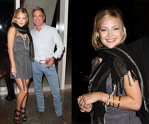 Kate Hudson Wearing Gray Dress, Fringe Scarf, and Charlotte Olympia Eve Booties