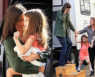 Pictures of Suri Cruise Visiting Katie Holmes On Set in Brooklyn, NYC