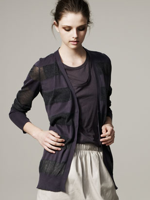 Sheer-Stripe Cardigan