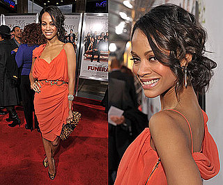 Zoe Saldana Wearing Orange Lanvin Dress