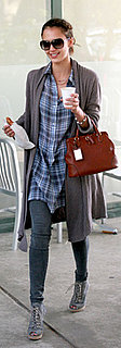 Jessica Alba Wears Plaid Shirt Dress and Stuart Weitzman Booties