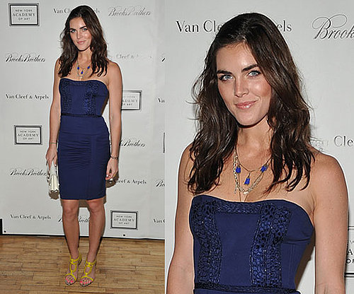 Pictures of Hilary Rhoda Wearing Blue Strapless Dress and Yellow Sandals