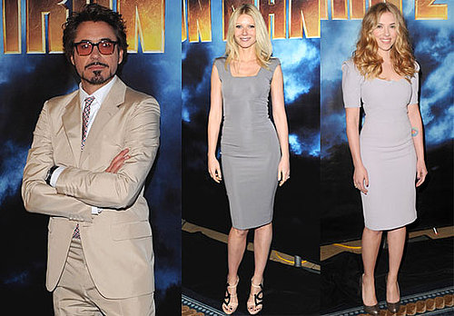 Pictures of Scarlett Johansson, Gwyneth Paltrow, and Robert Downey Jr. at Iron Man 2 Photo Call 2010-04-26 18:30:31