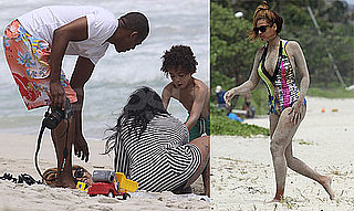 Pictures of Beyonce Knowles In a Bathing Suit Getting Buried in Sand on The Beach With Jay-Z And Solange