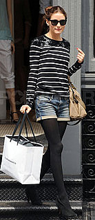 Olivia Palermo in Striped Top and Jean Shorts