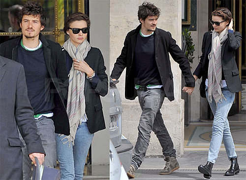 Photos d'Orlando Bloom et Miranda Kerr main dans la main a Paris