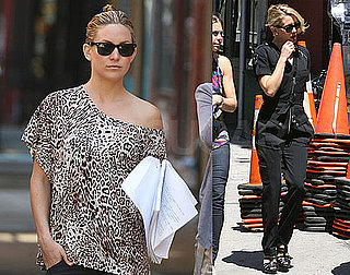 Pictures of Kate Hudson Filming Something Borrowed in Leopard Top