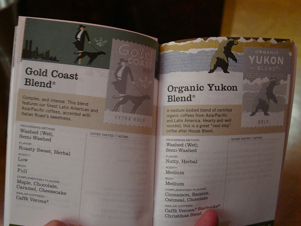 Each page represented one of Starbucks's many, many single origin coffees and blends from around the world.