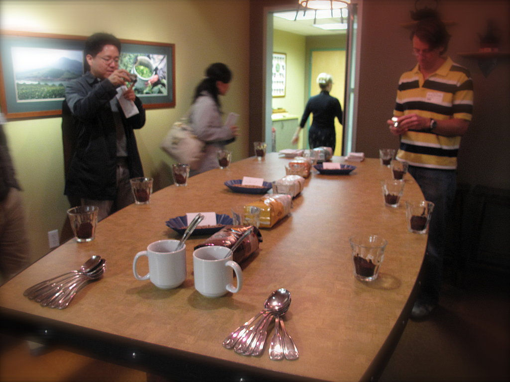 "Getting ready for our ""around the world"" coffee tasting, in Element, one of several rooms used for cupping."