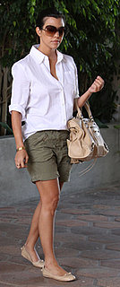 Kourtney Kardashian Wears Cargo Shorts and Nude Ballet Flats in LA