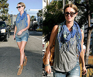 Nicky Hilton Wearing Denim Cutoffs, a Blue Floral Fringe Scarf, and Tan Suede Booties