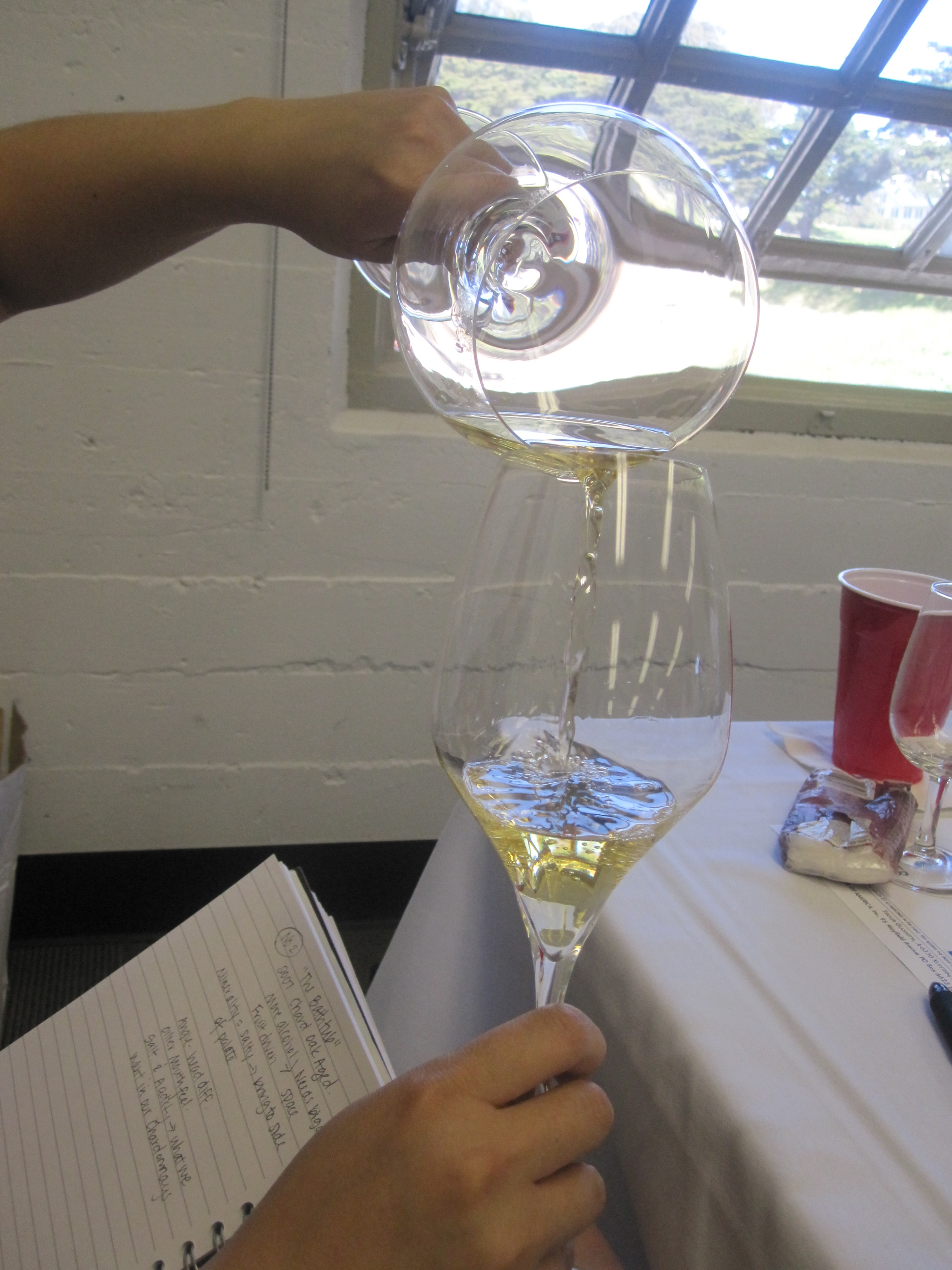 We transferred each wine from one glass to another, noting the way it changed in aroma and taste.