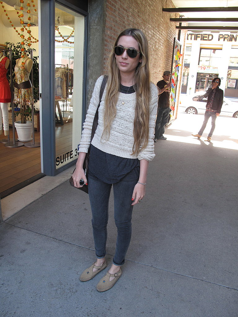 This shopper exuded disheveled chic to the max.