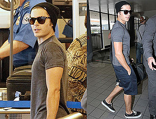 Pictures of Zac Efron Leaving LAX in Shorts and a Gray Tee
