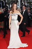 Kate stunned audiences in her white Gucci gown with silver embellished bodice and waist.