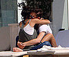 Picture of Ed Westwick and Jessica Szohr Hugging By A Pool