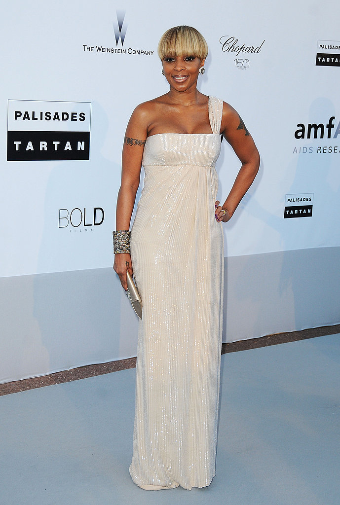 Mary J. Blige in a one-shouldered, sparkly Grecian gown.