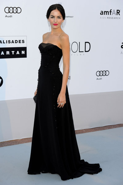 Camilla Belle looks stunning in every color; add pitch black Gucci.